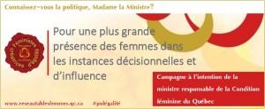 Pour une plus grande présence des femmes dans les instances décisionnelles et d'influence